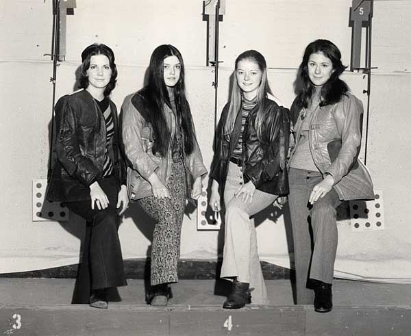 Four of the girls from the 1971-72 ETSU Rifle Team.